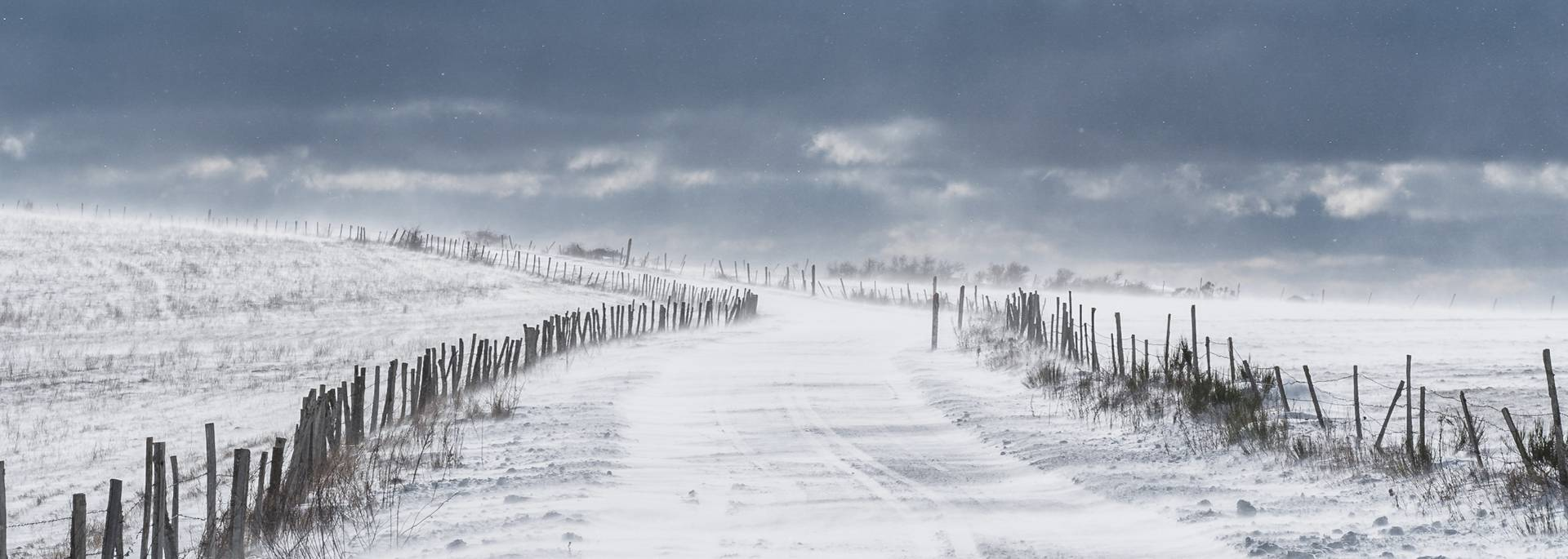 Aubrac plateau under the snow