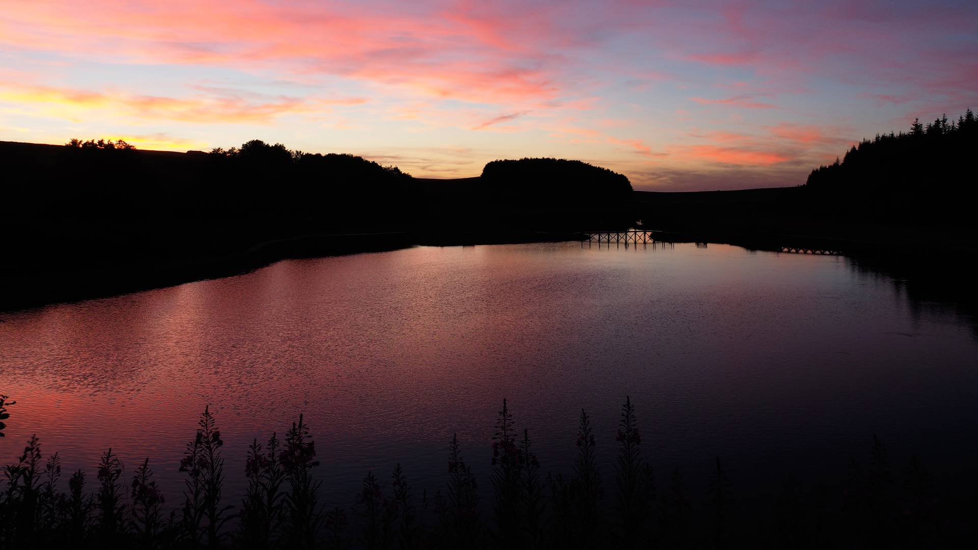 Bonnecombe lake in the twilight