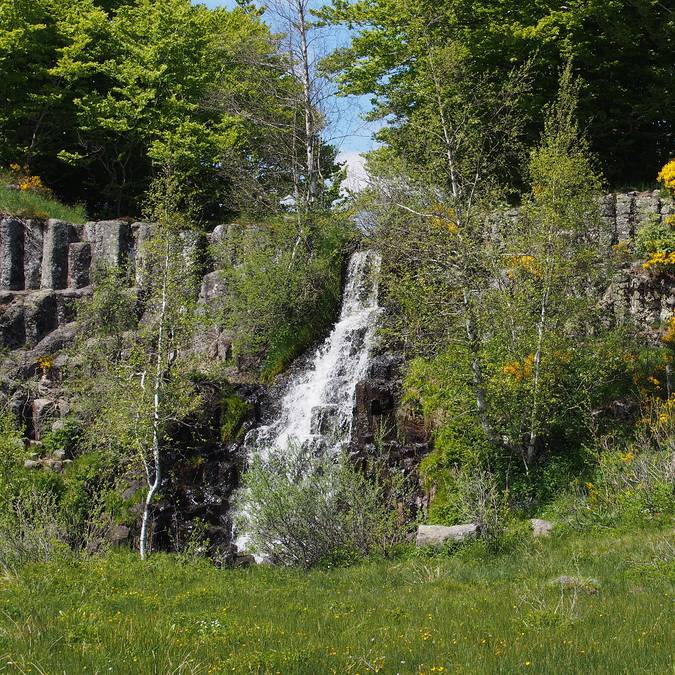 The Saltou waterfall on Aubrac
